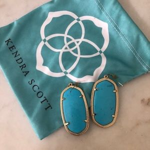 Kendra Scott large drop turquoise stone earrings